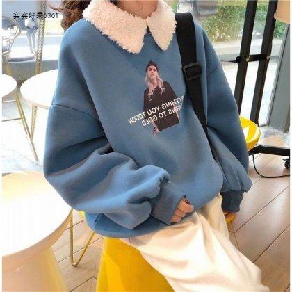 もこもこのボア襟がキュートな長袖プリントトップス プルオーバー 2色