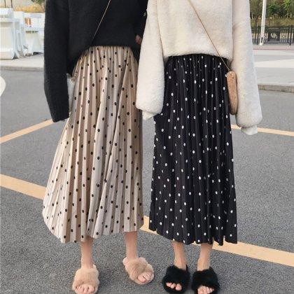 上品バイカラーのドット柄がオトナかわいいロング丈プリーツスカート 2色