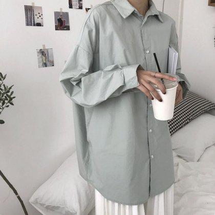 ビックシルエットがおしゃれなきれいめカジュアルのワントーン長袖シャツ トップス 4色
