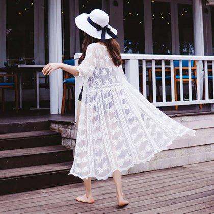 白の刺繍レースで高見え抜群な前開きロングガウン カーディガン
