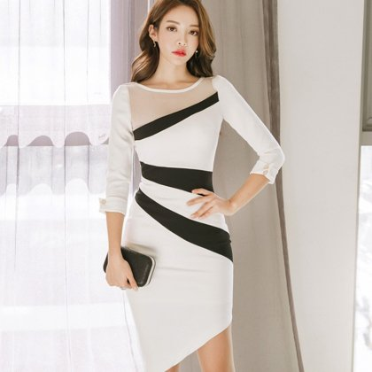 モノトーンのアシンメトリーデザインがスタイリッシュなタイトワンピース ドレス