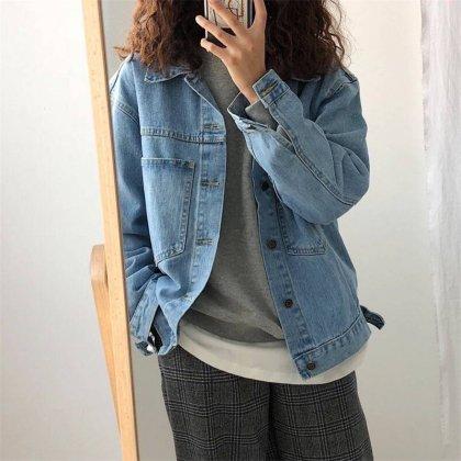 オーバーサイズのビックシルエットがおしゃれなデニムジャケット アウター 2色