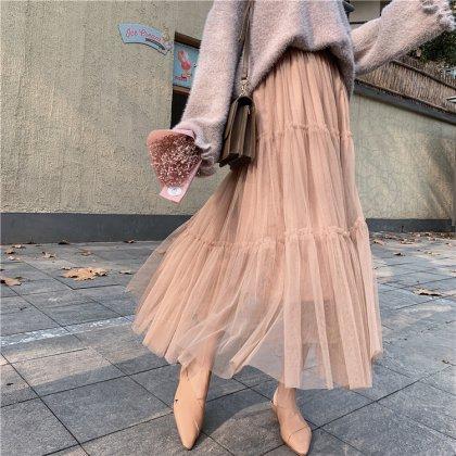 透け感チュールのティアードがキュートなロングスカート 5色