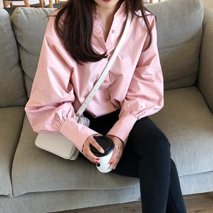 バルーンスリーブがおしゃれなキレイめカジュアルの長袖シャツ トップス 3色
