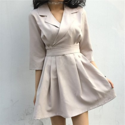 七分袖の抜け感がおしゃれ きれいめカジュアルなハイウエストワンピース 2色