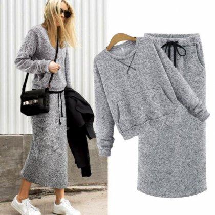 シンプルなモノトーンで大人かわいいゆったりシルエットのスカートセットアップ スウェット 2色