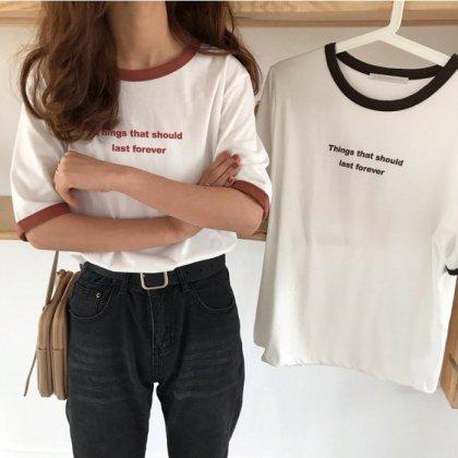 英字プリントがシンプルだけどおしゃれな半袖カジュアルTシャツ 2色
