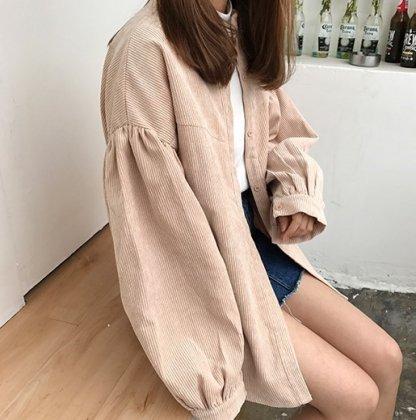 ビックサイズがおしゃれなワントーンの長袖コーデュロイジャケット アウター 3色