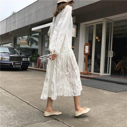 重ね着にもおすすめ ふんわりシフォンが可愛いゆったりカジュアルな長袖ロングワンピース