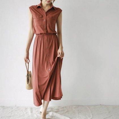 デイリーにおすすめ 落ち感スカートがオトナかわいいノースリーブのシャツワンピース 2色