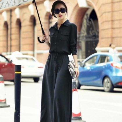 黒の落ち感ワントーンがオトナかわいいマキシ丈の袖ありシャツワンピース