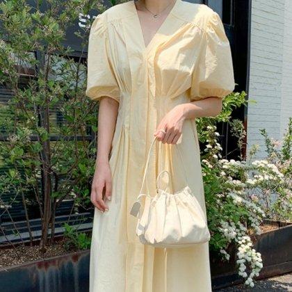 バルーンスリーブがキュートなたっぷりギャザーの半袖フレアロングスカート 2色