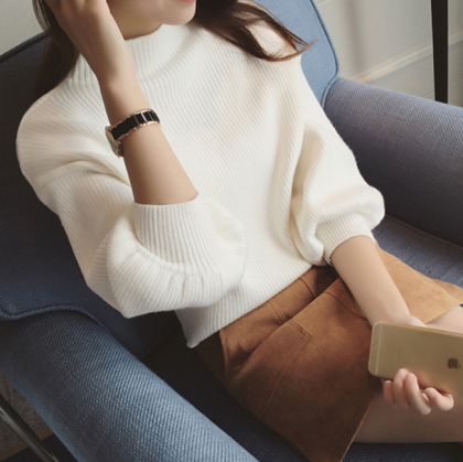細リブでスタイリッシュに バルーンスリーブがおしゃれなハイネックの長袖ニットトップス 6色
