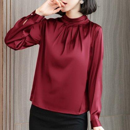 上品カラーでエレガントな印象に フォーマルにも使えるきれいめ長袖ブラウス 5色