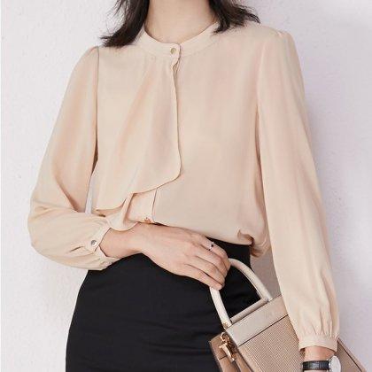 とろみフリルでフェミニンに 上品カラーのきれいめ長袖トップス ブラウス 4色