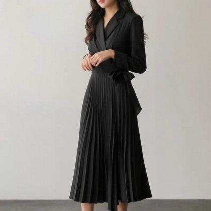 デイリーからフォーマルまで プリーツスカートで大人かわいい長袖ロングワンピース 4色