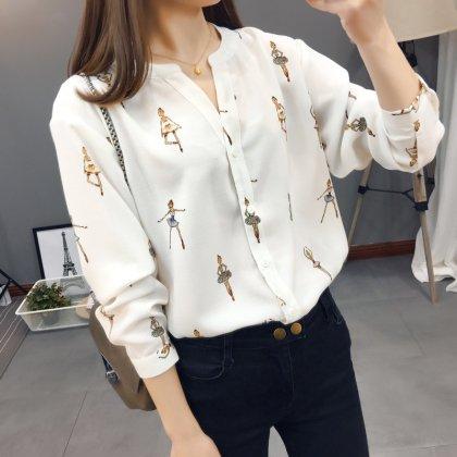 おしゃれプリントできれいめカジュアルな長袖のノーカラーシャツトップス 2色