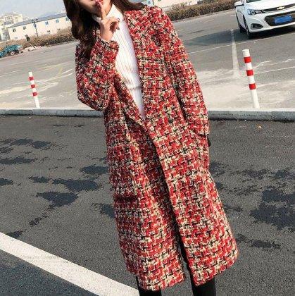 ツイードチェックの鮮やかな赤がおしゃれなロングジャケット レディースコート