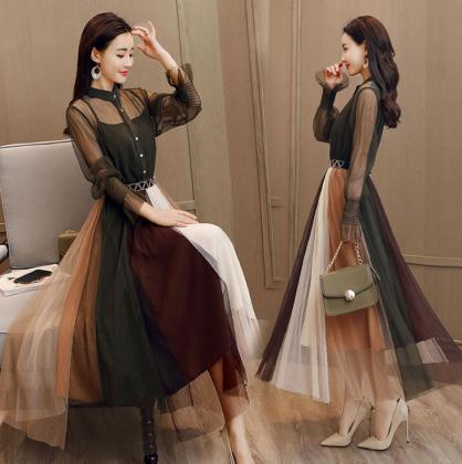 マルチカラーのシフォンスカートが個性的でかわいいロング丈の長袖フレアワンピース 3色