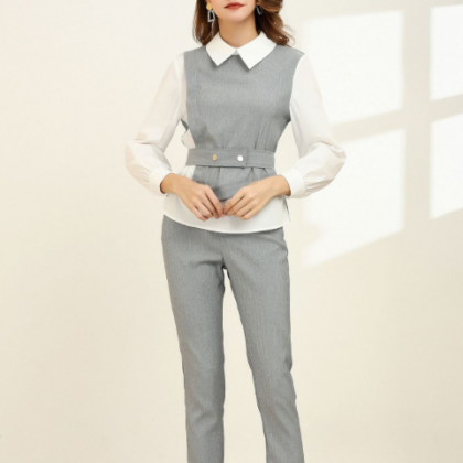 オフィスカジュアルやフォーマルに レイヤード風がおしゃれなきれいめパンツセットアップ スーツ