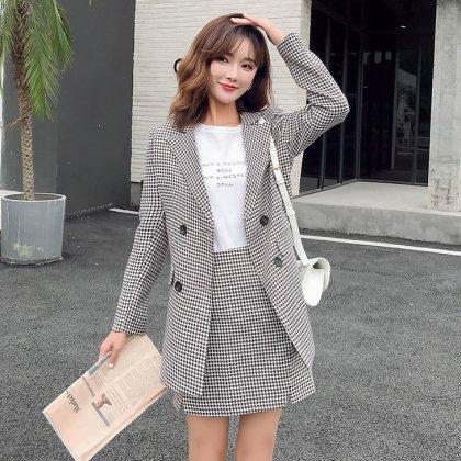 ミニスカートがかわいい千鳥格子カジュアルスーツ スカートセットアップ 2色