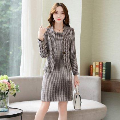オフィススタイルやフォーマルにも 千鳥格子で大人エレガントなノースリーブワンピとジャケットのセットアップ スーツ 2色