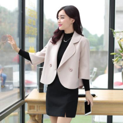 個性的でおしゃれな海外デザイン 七分袖のきれいめショートジャケット 2色