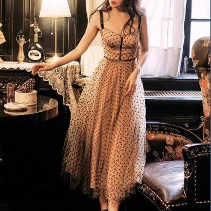 【即納】透け感チュールスカートがキュートなキャミソールのドット柄ワンピース セクシー