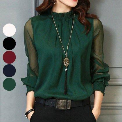 オフィスカジュアルや通勤にも 大人かわいいシフォンの長袖きれいめブラウス 5色