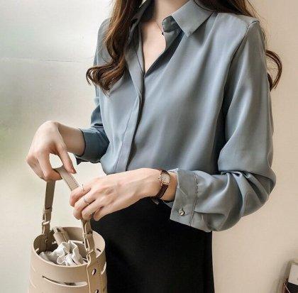 人気のきれいめデザイン 上品かわいいとろみシャツトップス ブラウス 4色