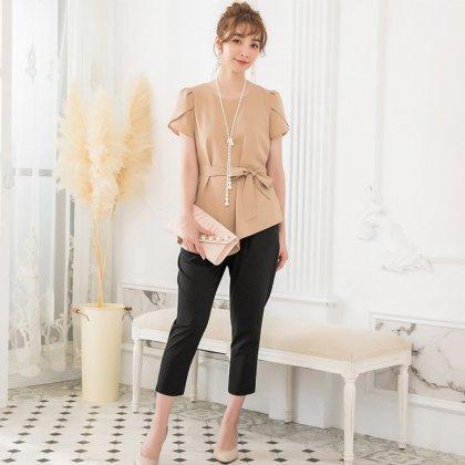 お呼ばれやフォーマルに リボンペプラムが上品かわいい半袖パンツセットアップ 3色
