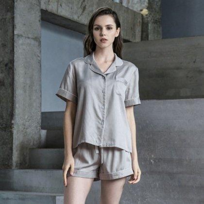 シンプルでおしゃれな海外デザイン 半袖とショートパンツのセパレートパジャマ 5色