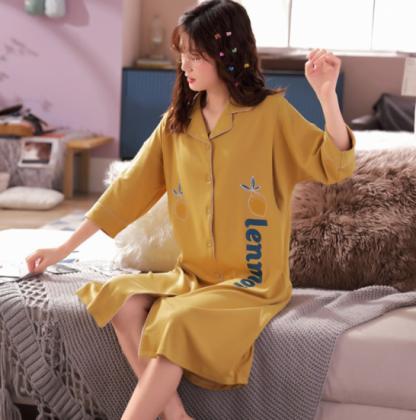 個性的でかわいい海外デザイン ワンピースタイプの前開きおしゃれパジャマ 5色