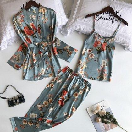 人気の海外デザイン 大人かわいいボタニカル柄の3pcsパジャマセット 2色