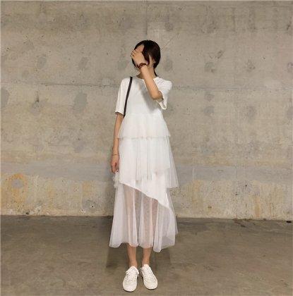 個性的でかわいい海外デザイン ティアードスカートの半袖Tシャツワンピース 3色