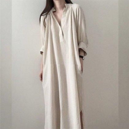 人気の海外デザイン きれいめカジュアルなゆったりマキシシャツワンピース 2色