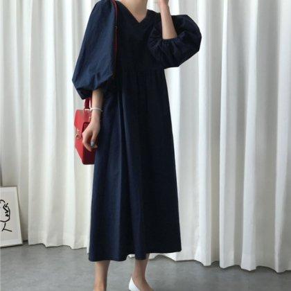 きれいめカジュアルな海外デザイン おしゃれなバルーンスリーブのゆったりロングワンピース 2色