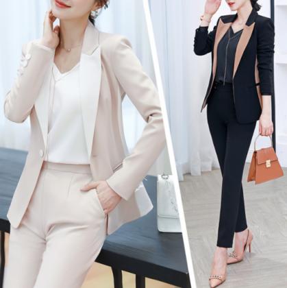 オフィススタイルにおすすめ バイカラーのジャケットとボトムスのきれいめセットアップ 2色 スーツ