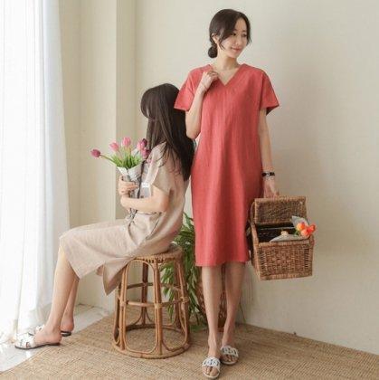 人気の海外デザイン ナチュラルでかわいいきれいめカジュアルな半袖ワンピース 3色