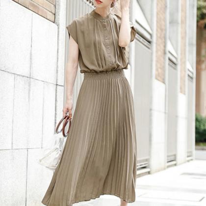 人気の海外デザイン 清楚かわいいプリーツスカートのロングワンピース 4色
