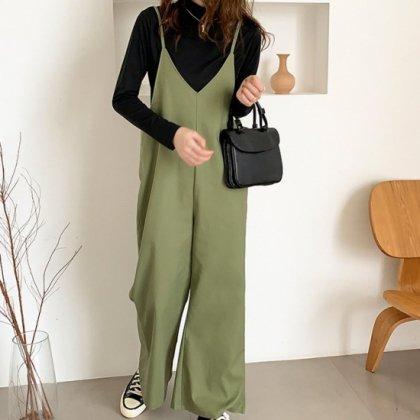 人気の海外デザイン きれいめカジュアルなワイドパンツのサロペット オールインワン 2色