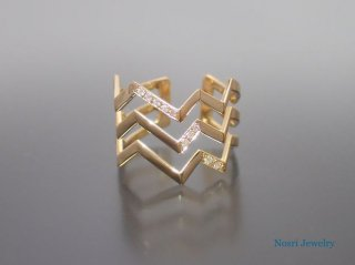 Zag Trio Ring <br> ザグ  トリオ リング<br> (with Diamond )<br>