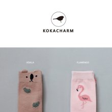 ロマンチックジャングルニーソックス<br>Romantic Jungle Knee Socks<br>Koara/Flamingo<br>『KOKACHARM』 <br>16FW