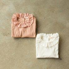 フリルブラウス<br>Jersey Ruffle Blouse<br>White/Pink<br>『piccola su』 <br>16FW