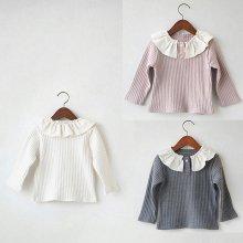 Rib frill T<br>Ivory/Gray/Pink<br>『nijiiro select』 <br>16FW<br>Pink/M