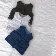 リバーシブルコットンベスト/Reversible cottn vest<br>navy/white/khaki beige<br>『lalala』<br>17SS