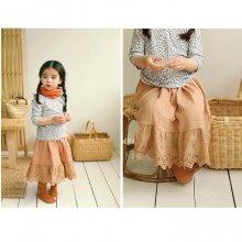 lace long skirt<br>vintage orange<br>『Amber』<br>18SS