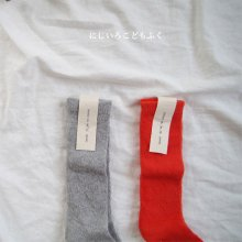 heart summer knee socks<br>Set of 2<br>『yoi』<br>18SS<br>gray & orange red