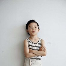 Linen stripe sleeveless<br>oatmeal<br>『O'ahu』<br>18SS<br>定価<s>1,300円</s> <b>20%Off</b>
