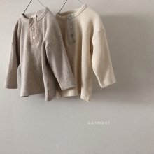 Button waffle Henry Neck T<br>2 color<br>19SS <br>______Restock